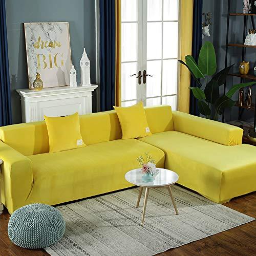 CClz Elastische Vollständige Abdeckung Sofa Kissen Couch-Abdeckung,Vier Jahreszeiten Weich Plüsch Sofa-abdeckungen,Thicke Universal Für 1 2 3 4 Sitzer Gelb 3-sitzer/190-230cm