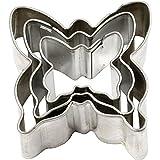 Artemio Set de 3 Emporte Pièce Papillons, Acier Inoxydable, Argent, 7 x 2,5 x 9 cm MK36009