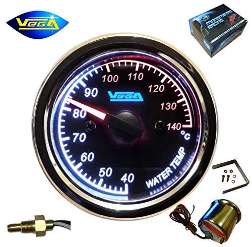 Vega® Manometer, Wassertemperatur, Kühlung, Edelstahl, wasserdicht, 40-140 °C, für Motorrad, Boot, verchromt, beleuchtet, 52 mm, französische Marke