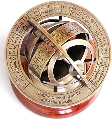Humaira Nauticals Antique Brass Sphere Astrolabe Armillary Globe Decor Vintage W/WOODERN Base THJ8