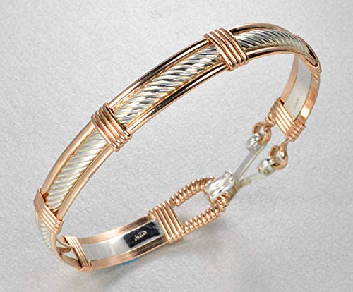 Sterling Silver and 14k Gold Filled Twist Cable Patterned Wire Wrapped Bracelet Size Medium