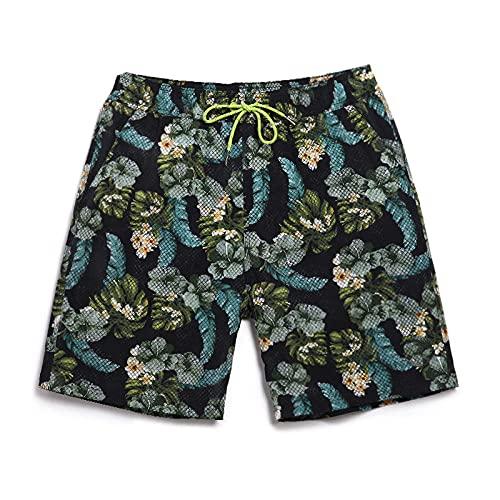 Hombre Pantalones Cortos De Playa,Pantalones Cortos Casuales De Surf para La Playa, Novedad, con Estampado De Árbol De Coco, Bañadores Negros, De Secado Rápido, Transpirables, Hawaianos, con Bols