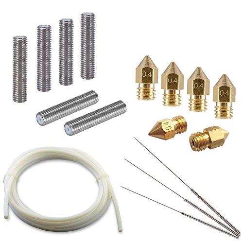 Naliovker Kit di Utensili per Stampante 3D - 6 testine per ugelli, 6 estrusore per Tubo M6 da 30 mm, 3 Strumenti di Pulizia, Tubo in Teflon PTFE 2M