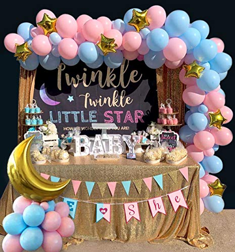Heboland Gender Reveal Balloon Garland Arch Kit 109Pcs Pink Blue and Gold Moon Star Balloons for Baby Boys Or Girls He Or She Twinkle Twinkle Little Star Theme Party Decorations