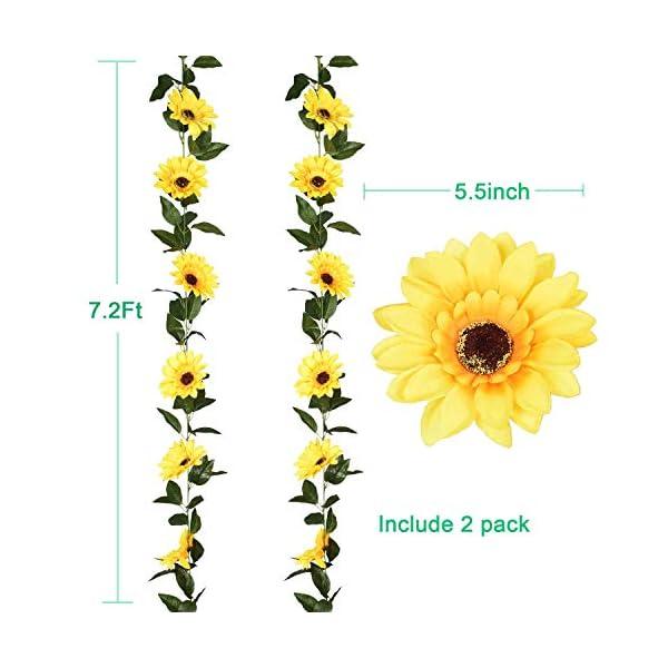 YQing 2 Piezas Artificiales Girasoles Flores Guirnalda, Flor Artificial Girasol Vid de Seda con Hojas Verdes Decoración…