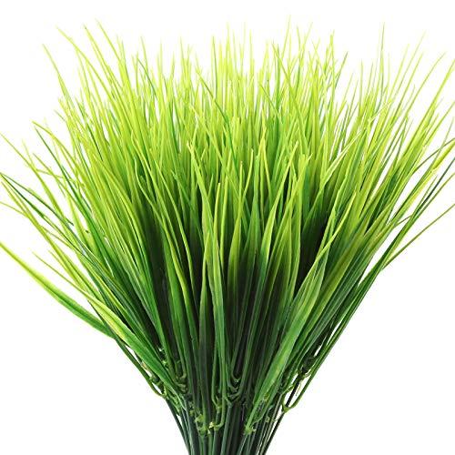 Omldggr 6 pacchetti di piante artificiali erba di grano artificiale erba di plastica verde arbusti...