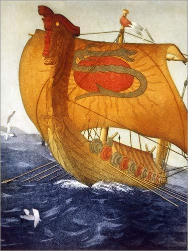 Póster 60 x 80 cm: Dragon Ship, Vikings de John Taylor Arms/Everett Collection - impresión artística, Nuevo póster artístico