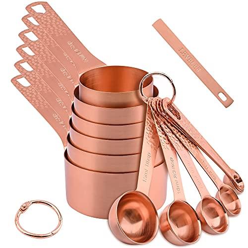 Juego de tazas y cucharas medidoras de oro, tazas medidoras de oro para hornear, cucharas medidoras de oro de acero inoxidable, cucharas medidoras y 2 anillos