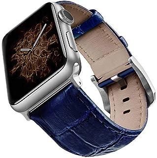 سوار ساعة مصنوع من جلد التمساح ومريح للارتداء مقاس 42/ 44 ملم لساعات ابل سلسلة 1/ 2/ 3/ 4 من فيفا مدريد VIVA-MONSIL-CROCBLU