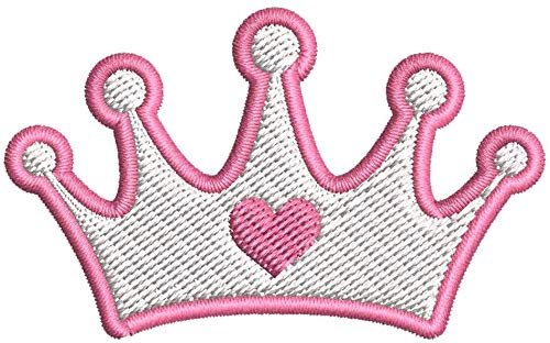 Iron on/Sew On Patch Applique Simple Young Pink Girly Princess Heart Crown Outline Cartoon Icon Embroidered Design (Small (3' Wide x 1.8' Tall))