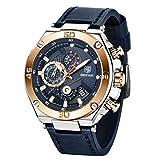 BENYAR Classic Fashion Business - Reloj de pulsera para hombre, diseño de cara grande, Azul dorado., Chronograph