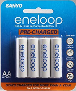 Sanyo Eneloop AA NiMH Pre-Charged Rechargeable Batteries - 8 Pack (Discontinued by Manufacturer) (B000LNI5VC)   Amazon price tracker / tracking, Amazon price history charts, Amazon price watches, Amazon price drop alerts