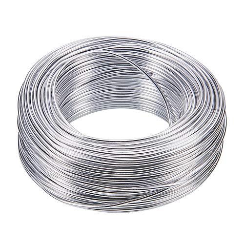NBEADS Filo di Alluminio, 55m 2.0mm Argento Colore Filo Metallico Filo Floreale per Perline per Gioielli Realizzazione di Armature e sculture
