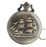 Infinite U Antica Barca a vela/Navi da guerra/Pirata Nave Grande Orologio da Tasca Al Quarzo Numeri Arabi