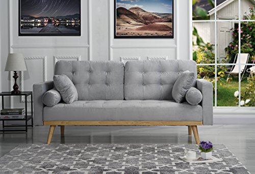 Sofamania Mid-Century Sofas, Light Grey