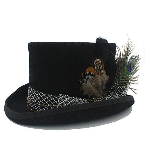 YIBANG-hat Femmes Fedora Chapeau Steampunk Chapeau Steampunk Gear Fedoras Chapeau Haut Chapeau, léger, Respirant (Couleur : Noir, Taille : 55cm)