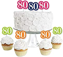 80th Birthday - Cheerful Happy Birthday - Dessert Cupcake Toppers - Colorful Eightieth Birthday Party Clear Treat Picks - Set of 24