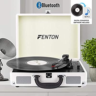 Fenton RP115B Record Player Bluetooth Turntable with Built-In Speakers USB Vinyl MP3 Converter 3-Speed LP Turquoise