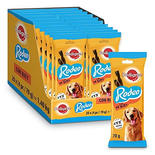 Pedigree Rodeo Snack en Tiras para Perros sabor Buey (Pack de 20 x 70g)