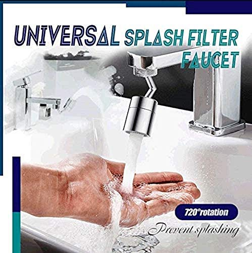 Universal Splash Filter Faucet,720° Rotate Water Outlet Faucet Sprayer Head with 4-Layer Net Filter,Anti-Splash,Oxygen-Enriched Foam,Leakproof Design with Double O-Ring (A)