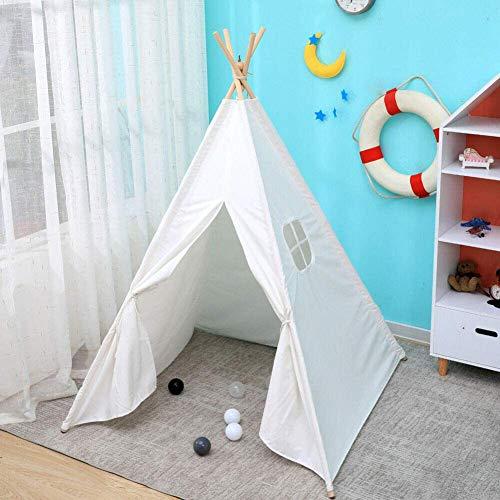 Layla Beauty Store Pyramide Zelt Weiß UV-Schutz Polyester-Baumwoll-Tuch Baby Im Freien Kinderzelt Natürliche Zelt Baumwolle Leinwand Zelt Nett Konisches Zelt Indoor-Outdoor-Spielzeug Zelt,Weiß