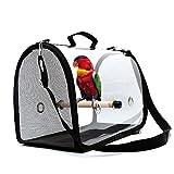 AOPOW Trasportino Porta Uccelli Trasparente con Zaino per Gabbia per Uccelli da Viaggio Leggero Pappagallo con Cinturino Regolabile (Nero)