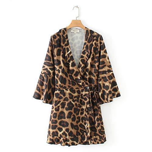 Deli Vestido Cruzado con Estampado De Leopardo De Las Mujeres Corbata Cruzada De Pajarita con Volantes De Diseño Elegante Vestidos De Patrón Animal