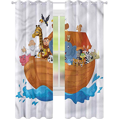 Cortina de ventana de dibujos animados océano Transporte Ark W52 x L84 Cortinas para sala de estar