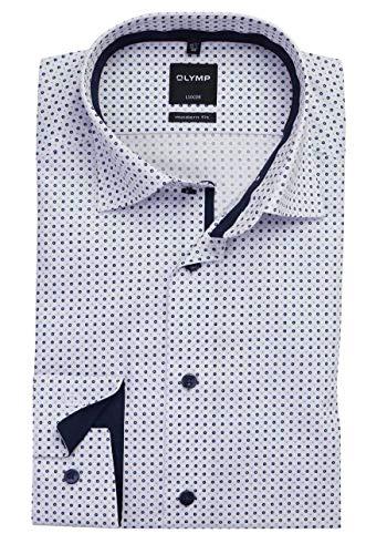 OLYMP Luxor modern fit Hemd Langarm Punkte weiß Größe 40