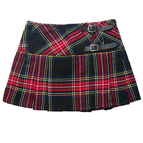 Viper London - Minifalda escocesa con imperdible - 33cm - Tartán Negro/Rojo - 42