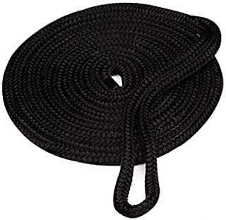 featured product Amarine Made 5/8 Inch 25 FT Double Braid Nylon Dockline Dock Line Mooring Rope Double Braided Dock Line,  Color: Black,  White,  Blue