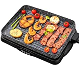 Electric Grill Indoor Korean BBQ Barbecue Flat Tabletop Granite Stone Nonstick Detachable Griddle...