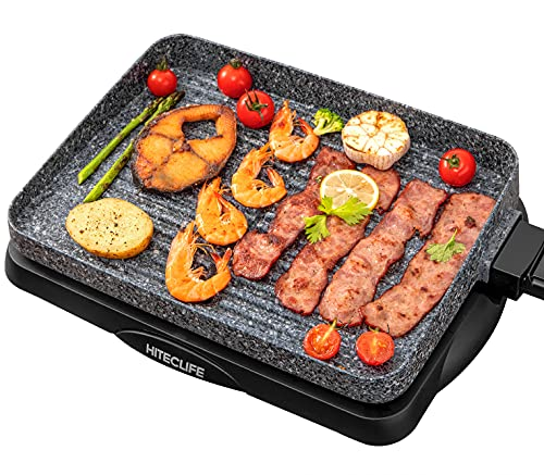 Electric Grill Indoor Korean BBQ Barbecue Flat Tabletop Granite Stone Nonstick Detachable Griddle 1500W Smart 5-Heat Plate Family Size 14 Inch Gray