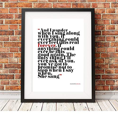 Foo Fighters – Everlong – Songtext – A3 Typografie-Poster Kunstdruck, limitierte Auflage