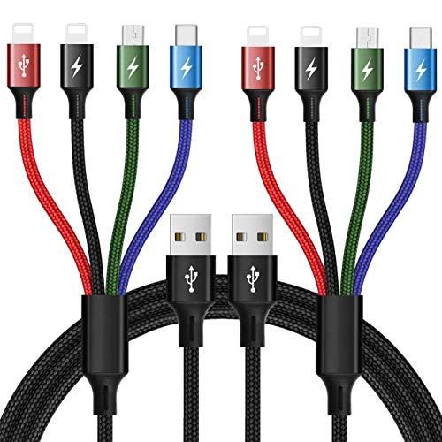 Minlu 4-en-1 Cable de carga múltiple 4A, 1.2M Cable de cargador USB Carga rápida Micro USB Tipo C para teléfono 11 Xs X 8 7 6 Samsung Galaxy S10 S9 S8 Huawei Xiaomi Kindle Tablets (Black)