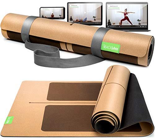 BACKLAxx® Kork Yogamatte mit Naturkautschuk - Nachhaltige Yogamatte rutschfest schadstofffrei mit Anti-Rutsch-Zonen - Inkl. Mattengurt und Anwendungsvideos