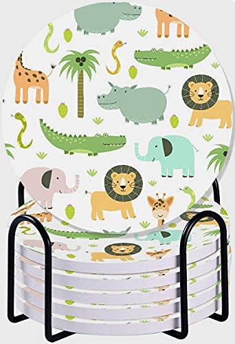 GUVICINIR Juego de 6 Posavasos de cerámica Absorbente con Base de Corcho,Apto para Tipos de Tazas,Safari Animales de Patrones sin Fisuras con Lindo hipopótamo, cocodrilo, león, Elefante y Jirafa