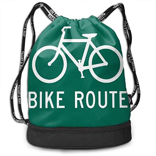 PmseK Turnbeutel Sportbeutel Kordelzug Rucksack, Bike Route Sporttasches Shoulder Cinch Storage Bag for Traveling Hiking