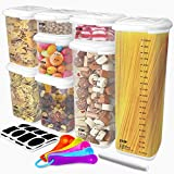 Food Storage Containers with Airtight Lids, Tintec BPA Free Food Grade Plastic Kitchen and Pantry Cereal Flour Containers, with 16Pcs Chalkboard Labels, Marker Pen and Measuring Spoon Set (8 Pack)