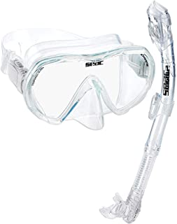 SEAC Snorkel Set for Men and Women | Comfortable Snorkeling Gear, Adjustable Frameless Mask Made from Clear Tempered Glass | Dry Snorkel with Bottom Purge Valve, Great for Freediving