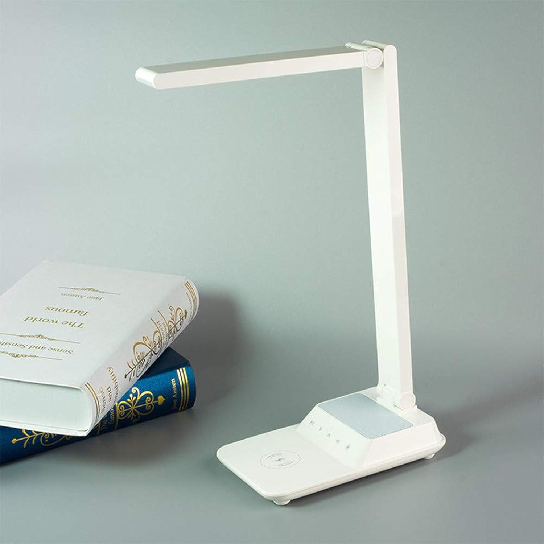 MESSK LED-Schreibtischlampe, kabellose Ladeschreibtischlampen, Blautooth-Lautsprecher, kabellose Play-Eye-Tischlampe, geeignet für das Schlafzimmer der Universitt im Schlafsaal,Weiß
