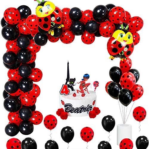 Guirnalda de arco de globos, decoraciones de fiesta temática de mariquita con cinta de rayas, globos de látex negro rojo para fiesta de baby shower de cumpleaños para niños
