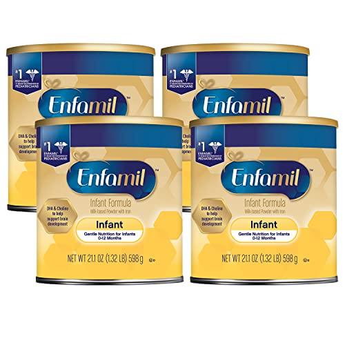Enfamil Infant Formula, Milk-based Baby Formula with Iron, Omega-3 DHA & Choline, Powder Can, 21.1 Oz, Pack of 4