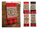 Manual Woodworker Warm in The Wilderness Hand Towel Set of 4 / Farm Style/Gift Set