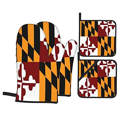 Juego de 4 Manoplas para Horno y Soportes para ollas,Bandera del Estado de Maryland,Guantes de poliéster para Barbacoa con Almohadillas Calientes Resistentes,Asar