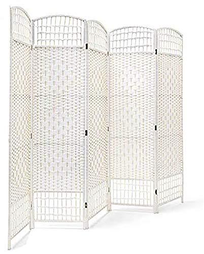 Biombo Blanco de Bambú Natural para Salón/Dormitorio, Diseño Funcio