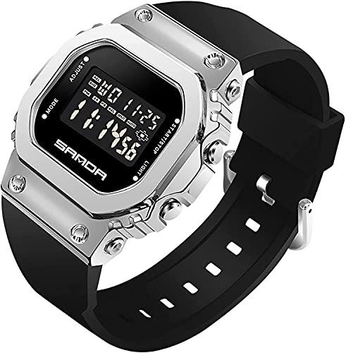 ZFAYFMA Relojes de moda para mujer, relojes digitales, esfera cuadrada para hombres, deportes, unisex, ocio, relojes electrónicos de lujo, relojes deportivos, impermeable negro