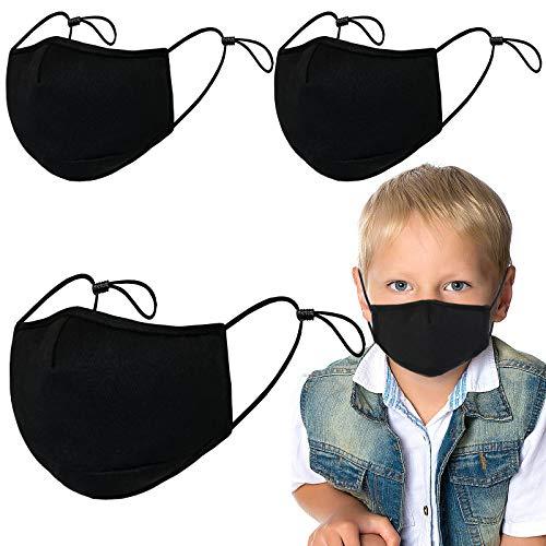 3Pack cotton face guard-3 Ply 100% Cotton-Breathe Comfortable-Washable-Reusable (Kid black -3Pcs)