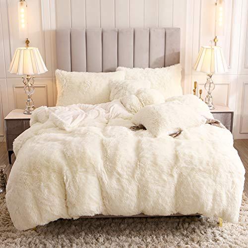 Uhamho Faux Fur Velvet Fluffy Bedding Duvet Cover Set Down Comforter Quilt Cover with Pillow Shams, Ultra Soft Warm and Durable (Queen, Cream White)