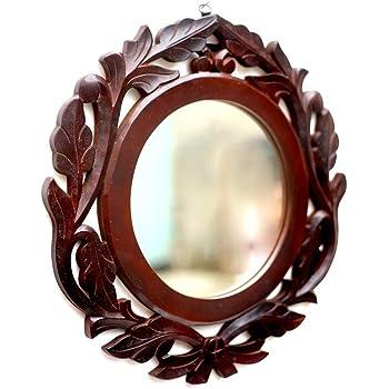 AMAZE SHOPPEE Wood Iron Wall Mirror (40 x 40 cm, Brown)